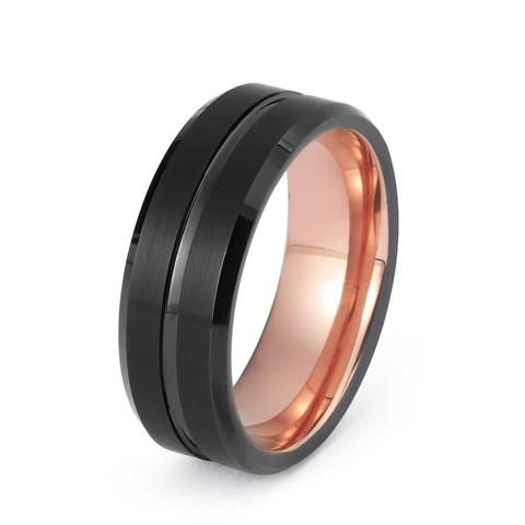 Rose Gold Tungsten Wedding Ring Center Groove Brushed Black Ring 8mm Men S We With Images Rose Gold Wedding Bands Mens Wedding Bands Tungsten Black Tungsten Rings