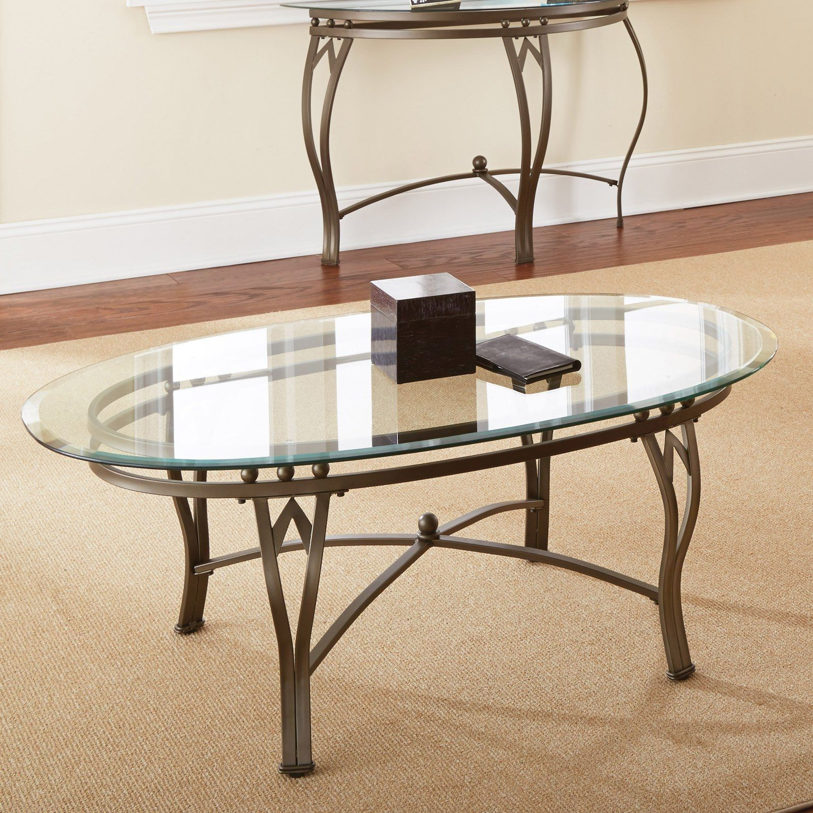 Oval Glass Coffee Table Set