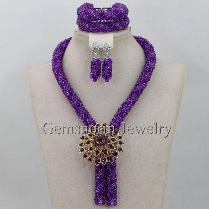 Purple Costume Jewelry Set Nigerian Wedding African Beads Set ...