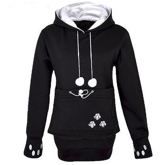 Cat Hoodie Kangaroo Pouch Catsrules Cat Apparel For Women - Hoodie with kangaroo pouch is the perfect cat accessory