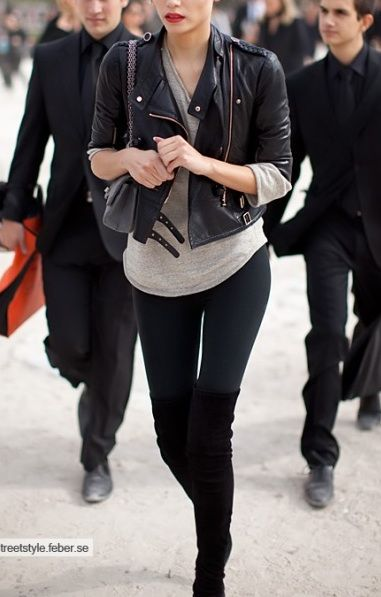 Thigh high boots with leggings. So sleek. | My Style Fall Winter ...