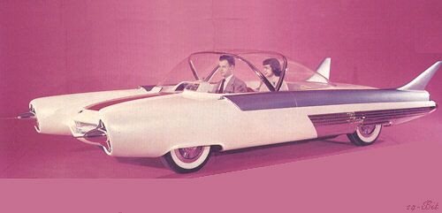 1954 Ford FX Atmos concept. Continuing the then popular aircraft theme, the FX Atmos put the driver in the centerline, with passengers on either side. The clear dome top was jet fighter-like. The power plant was never disclosed, but popularly thought to be nuclear as other show cars were then.