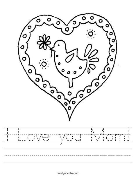 Heart with Bird Worksheet   Mom coloring pages, Valentines ...