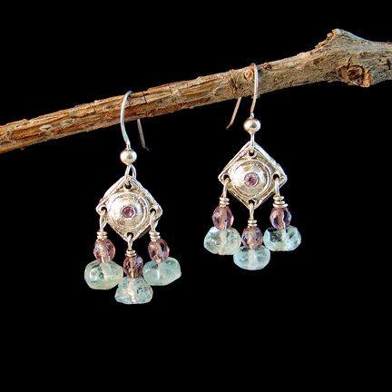 Fine Silver Regal Diamond Dangle Earrings w/ Alexandrite, Fluorite and Lavender Crystal