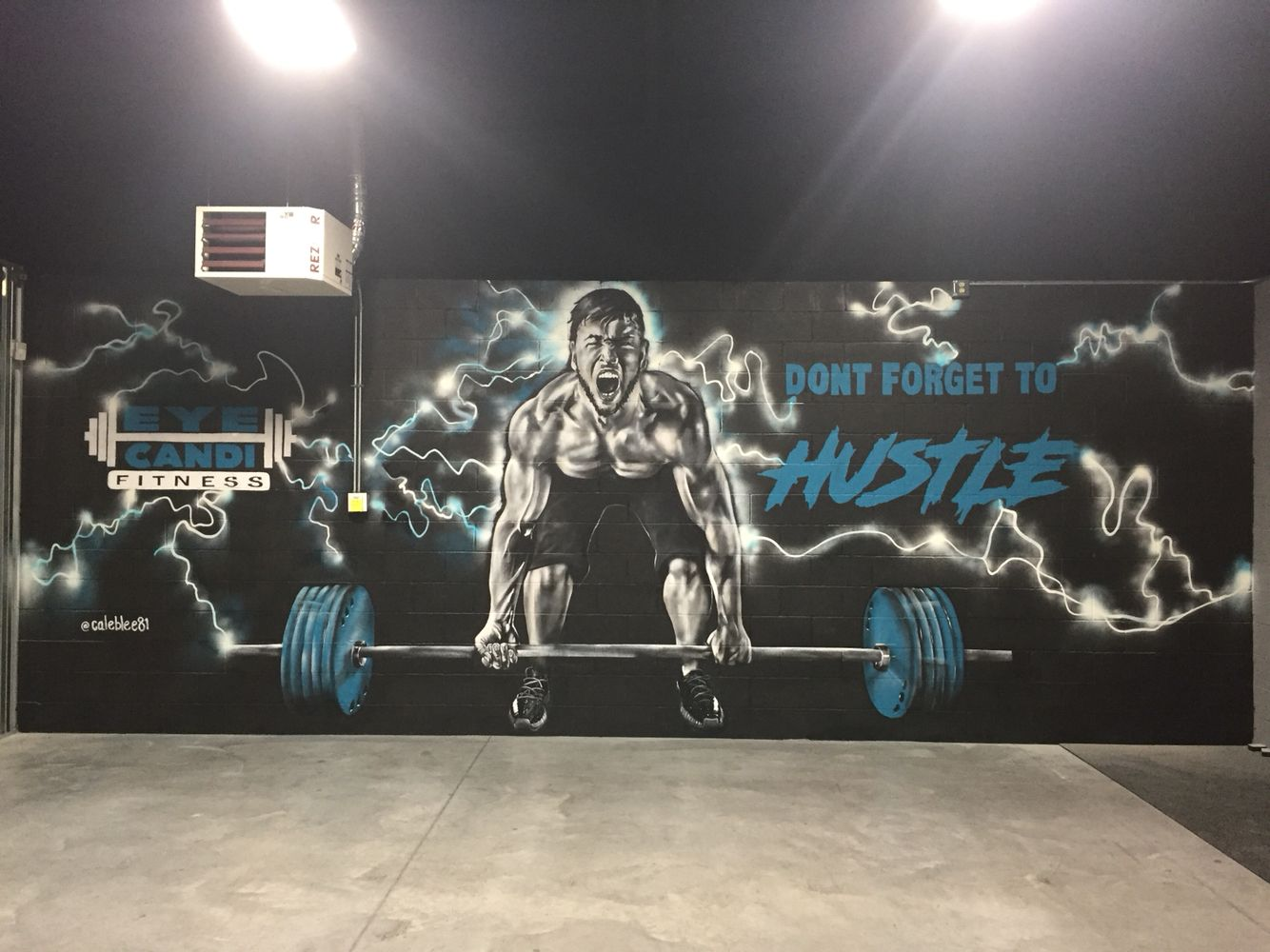 My newest painting Mural at Eye Candi Fitness. Spray painted this man  lifting weights. 3764b9e6ea6