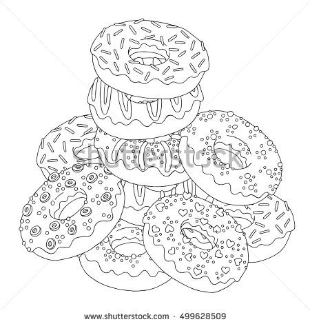 Vector Hand Drawn Donuts Illustration For Adult Coloring Book