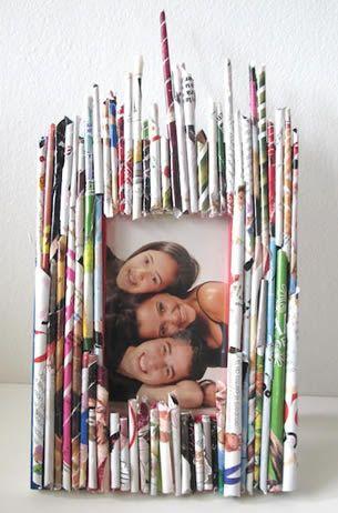Porta Retrato Com Reciclado Feito Com Folhas De Revista Com