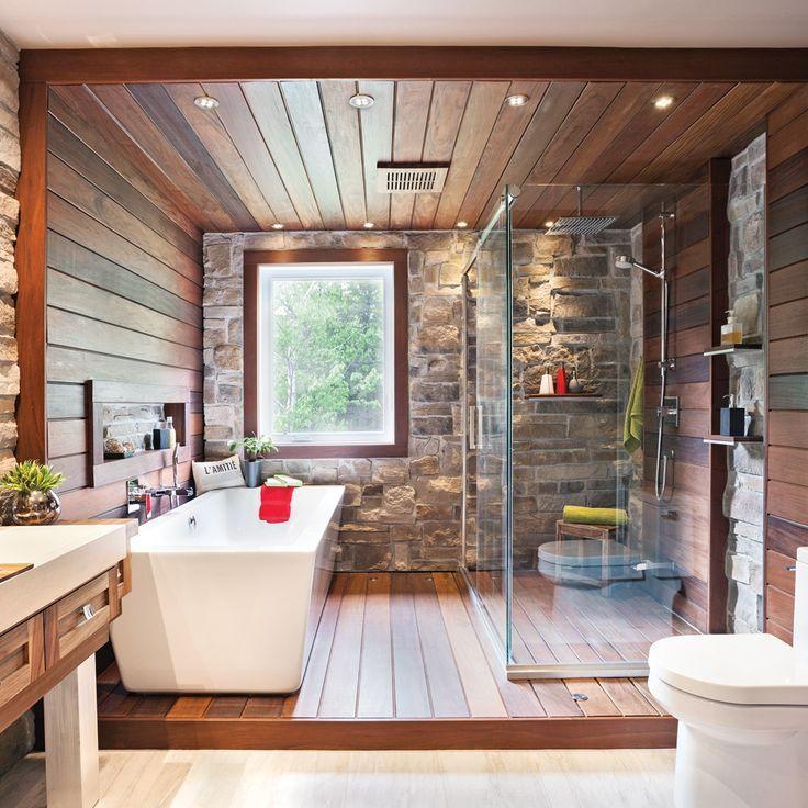 cool Idée décoration Salle de bain - salle-de-bain-rustique-tout-de