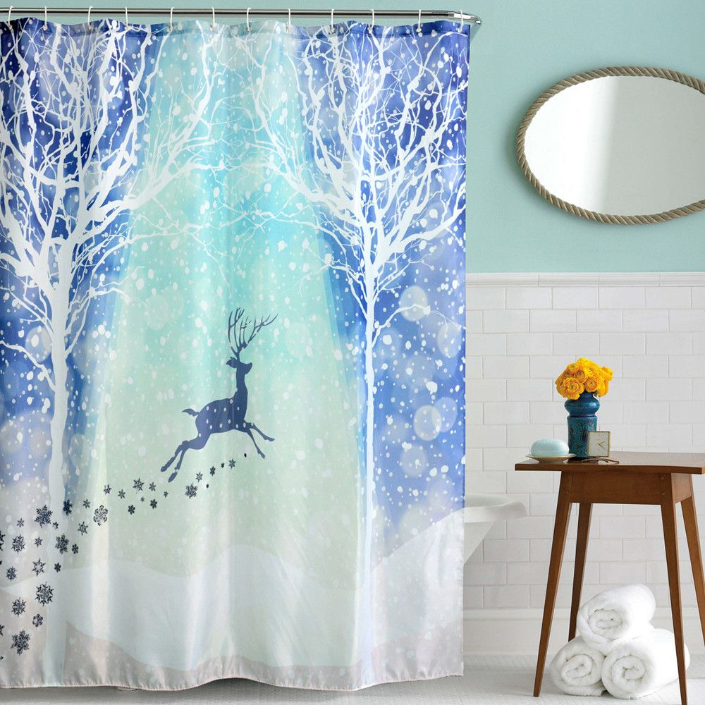 Cute Animals Christmas Kids Waterproof Shower Curtain Bathroom Shower  Curtain Decor With Hooks New Curtain Bathroom