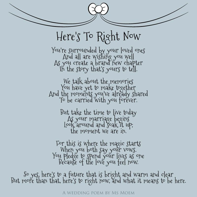 © Here's To Right Now Is An English Wedding Poem Written