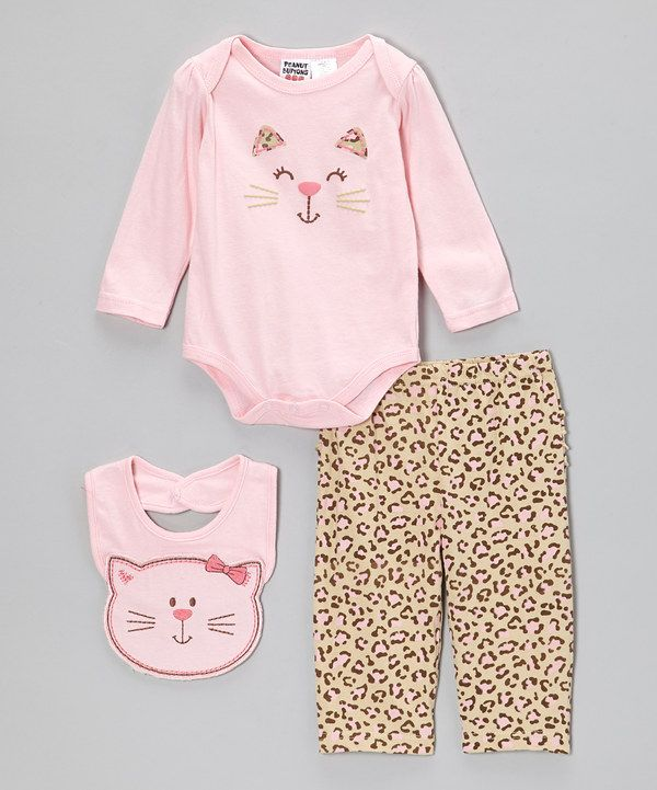 Take a look at this Peanut Buttons Pink Leopard Happy Kitty Bodysuit Set - Infant on zulily today!