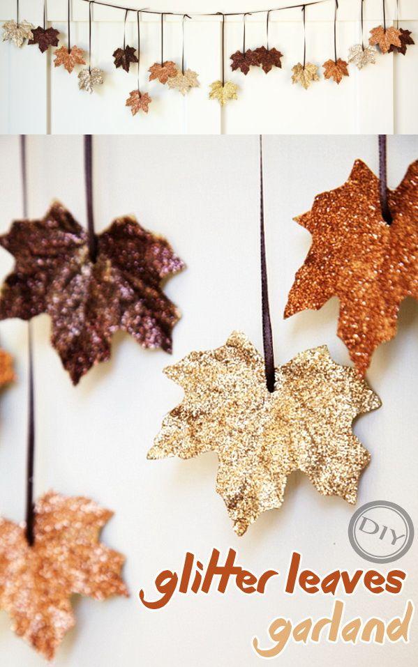 DIY Glitter Leaves Garland – Top Easy Design Idea For Thanksgiving Decor Proje…