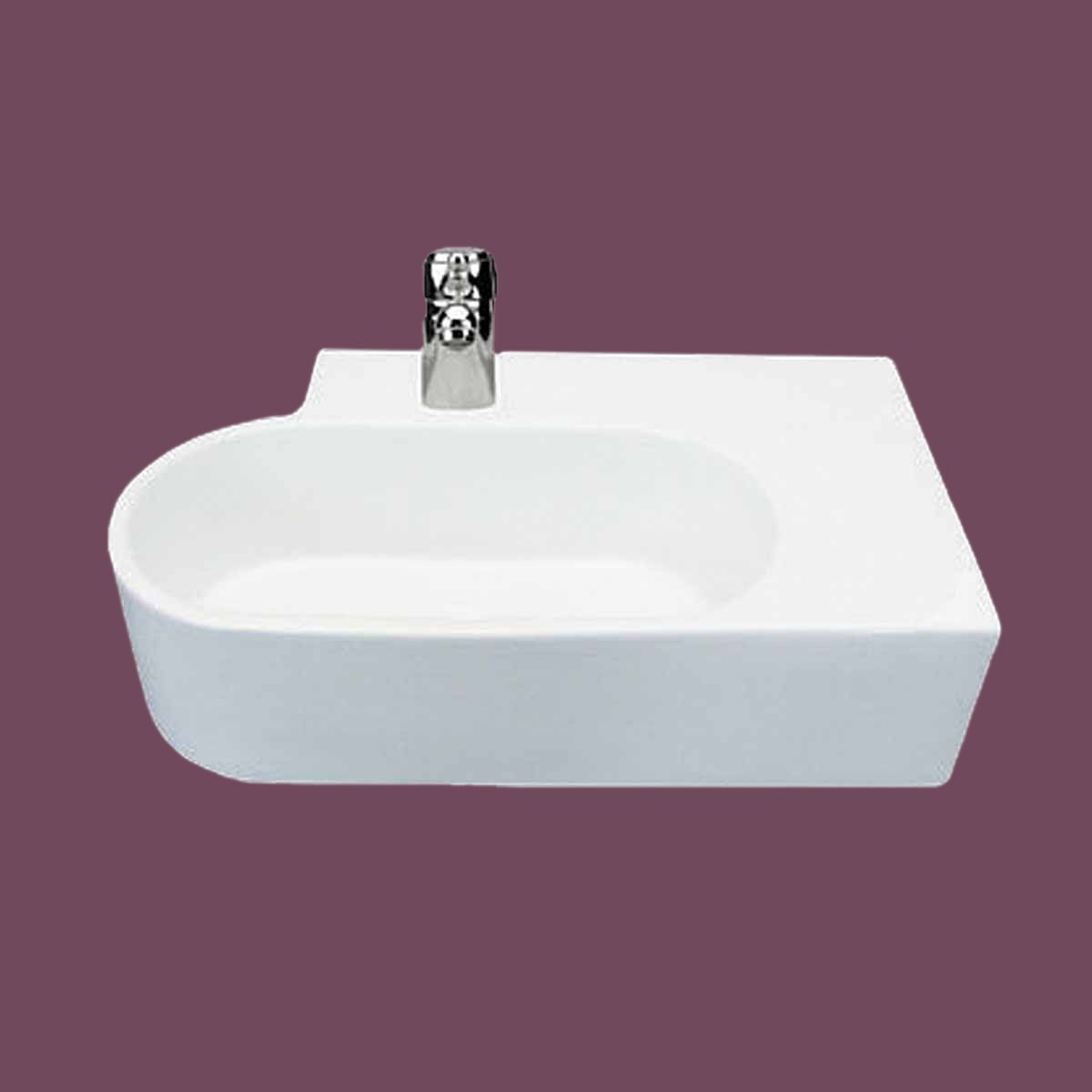 Corner Sink White Vitreous China Edwin Over Counter Mount