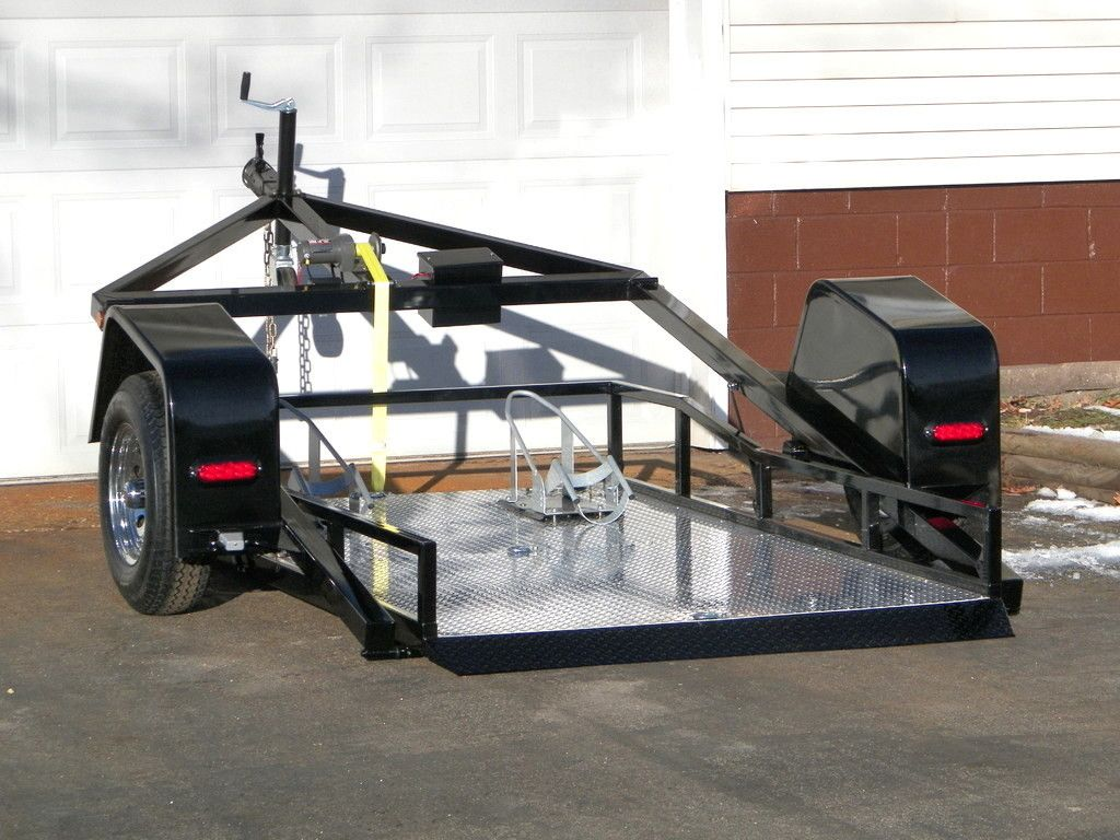 Ramp Free Drop Bed Easy Load Trailer For Two Motorcycle