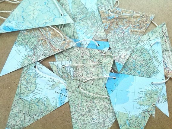 Map Garland Paper Bunting Banner ~ 14 Flags   Pennants ~ Party Decor - best of world map fabric bunting