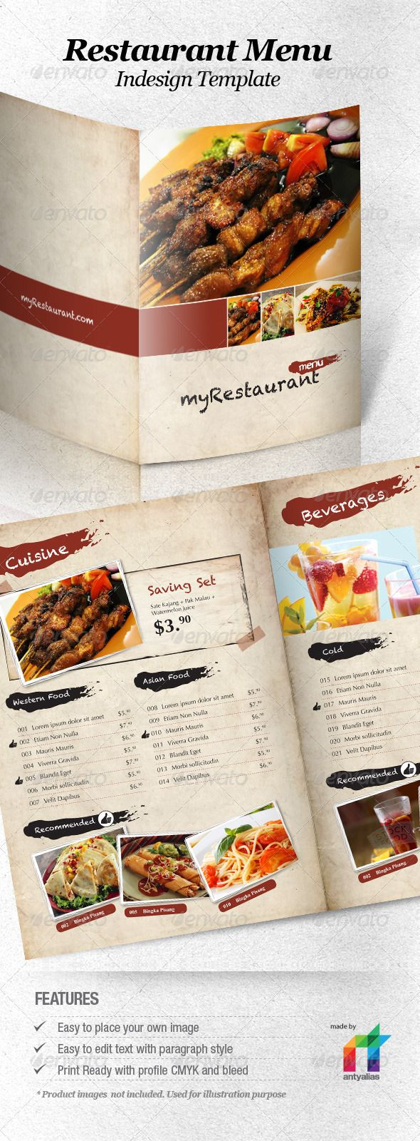Restaurant Menu Indesign Template | Indesign templates, Menu and ...
