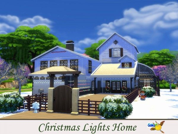 The Sims Resource: Christmas Lights Home by evi • Sims 4 Downloads