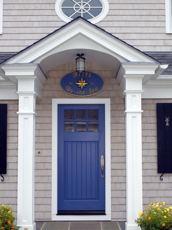Good Bright Blue Front Door Colour On Shingled Exterior With 2 White Posts And  Slate Steps