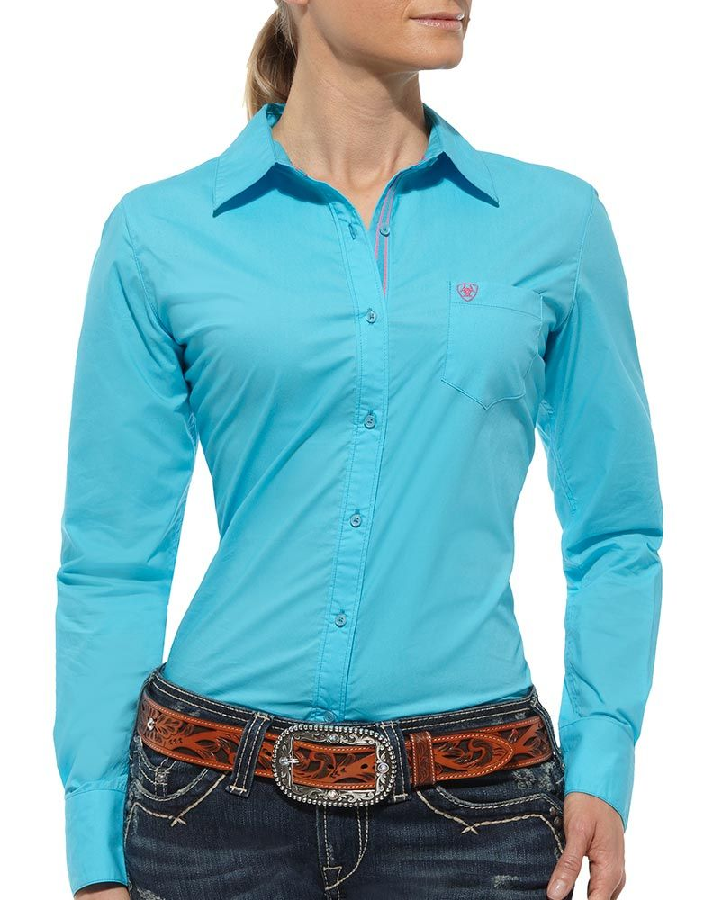 Ariat Women S Kirby Long Sleeve Solid Button Down Shirt Turquoise Ladies Western Shirts Western Wear Womens Shirts [ 1000 x 792 Pixel ]