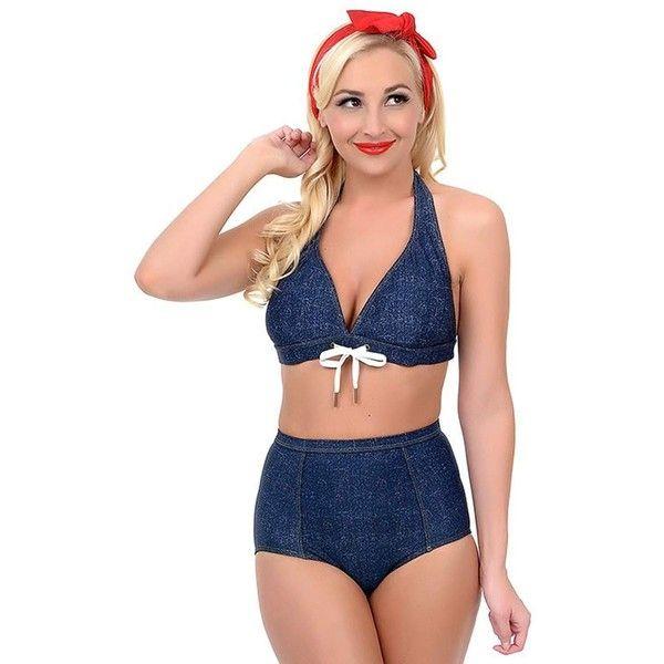 51a147057fedd Navy Faux Denim High Rise Retro Daisy Duke Swim Bottom ($17) ❤ liked on Polyvore  featuring swimwear, bikinis, bikini bottoms, blue, retro high waisted ...
