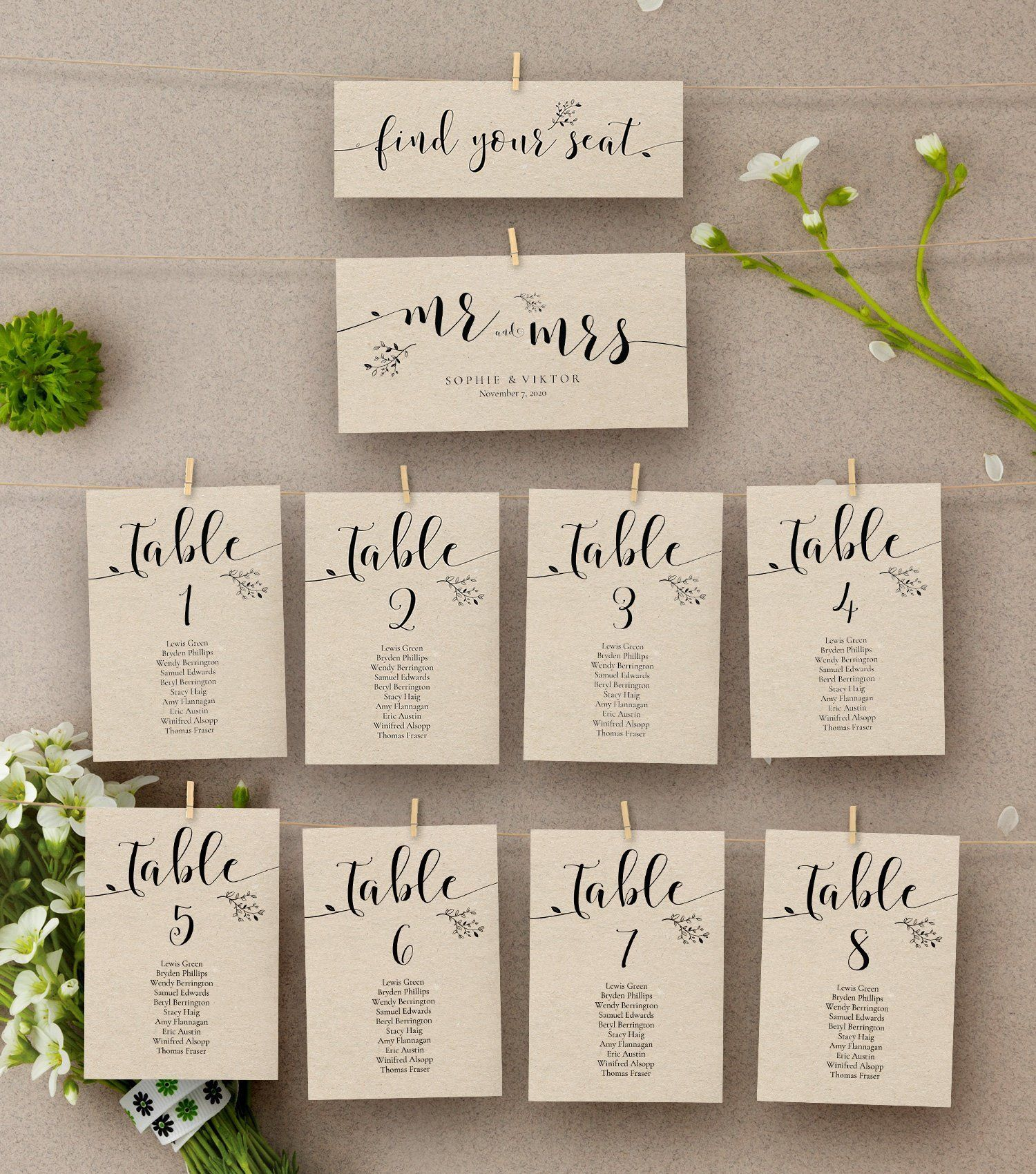 Wedding Seating Chart Template Floral Kraft Wedding Table Numbers Seating Plan Template Table Assignment Card Ab07 01 006 In 2021 Rustic Wedding Seating Wedding Seating Plan Template Seating Chart Wedding