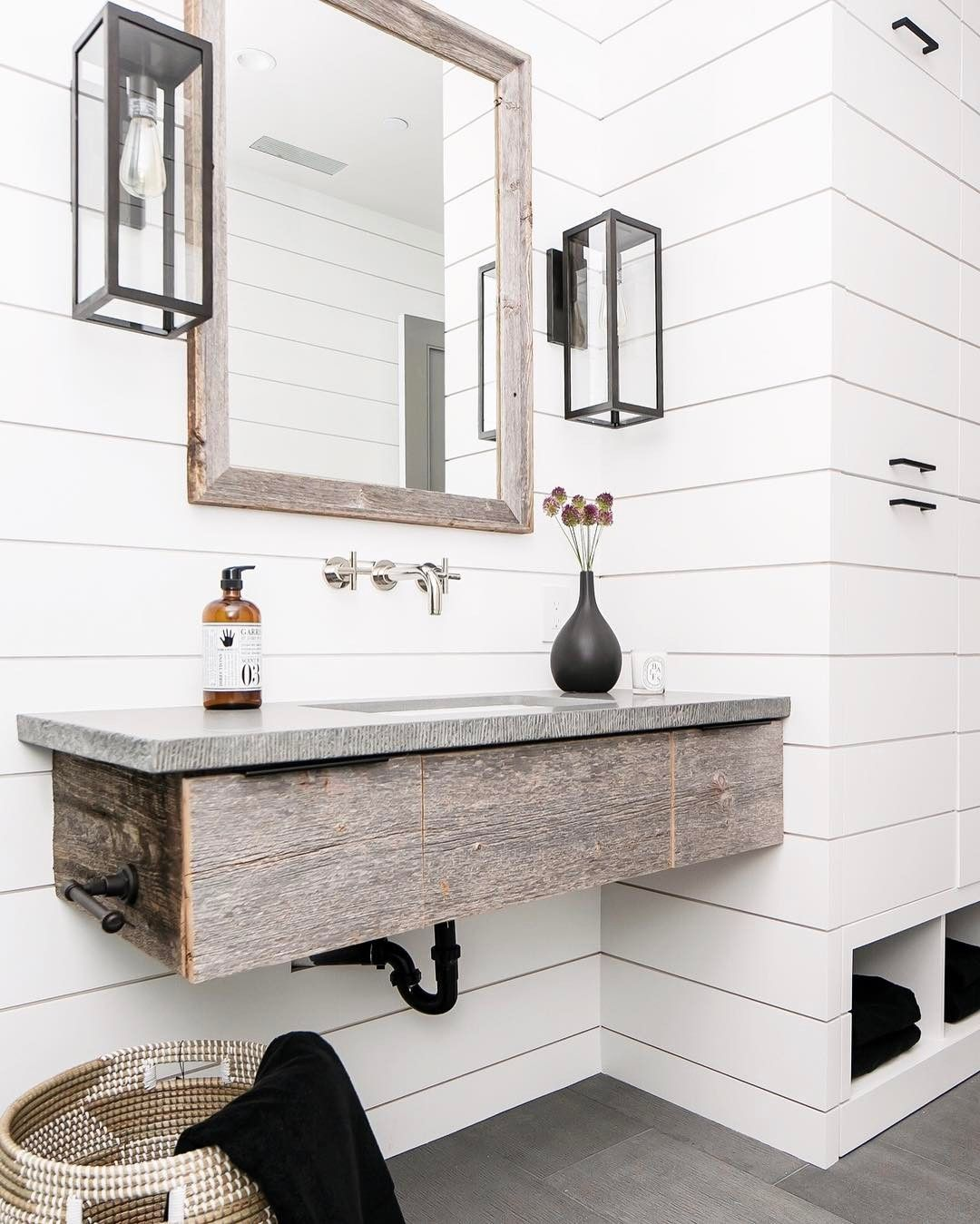 White Rustic Bathroom rustic bathroom with white shiplap | b a t h r o o m s | pinterest