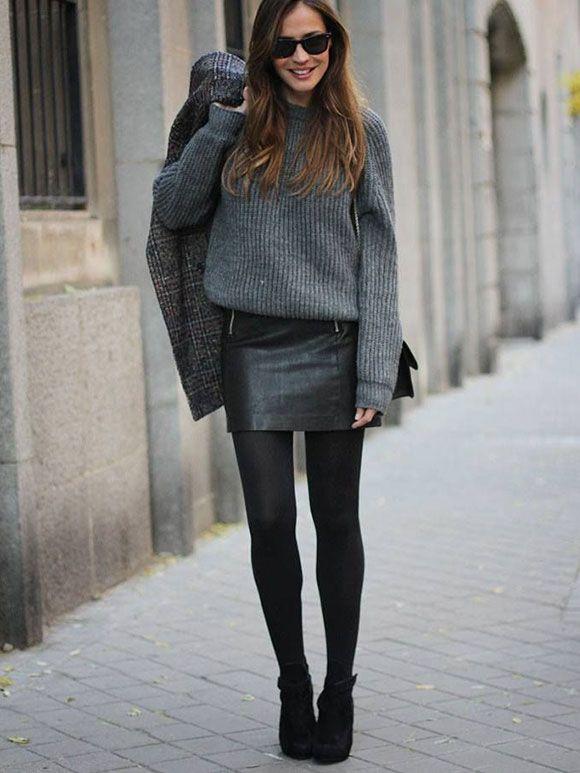 Zwarte Trui Met Leer.Fashion Fix Rok Met Trui Wearable Moda Ropa En Cuero