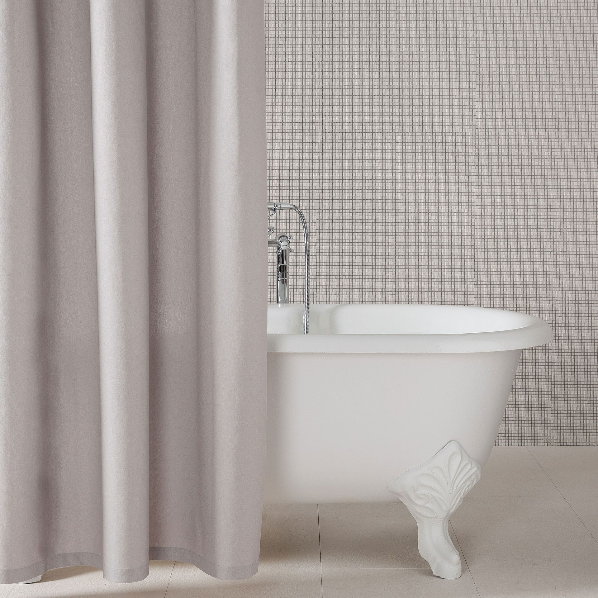 Rideau Gris Perle Ikea pearl cotton and linen shower curtain - shower curtains