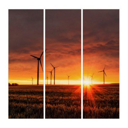 #Wind Turbine Sunset Triptych - #deco #gifts