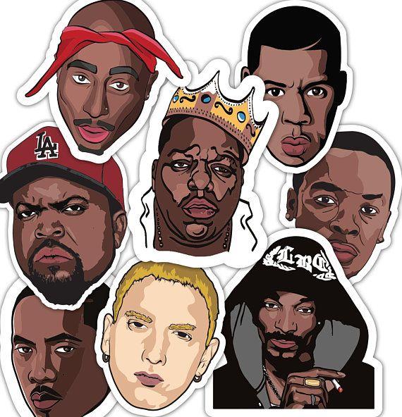 2019 prezzo all'ingrosso vari design vivido e di grande stile 90's Rappers Sticker Set - Jay Z - B.I.G Biggie Smalls ...