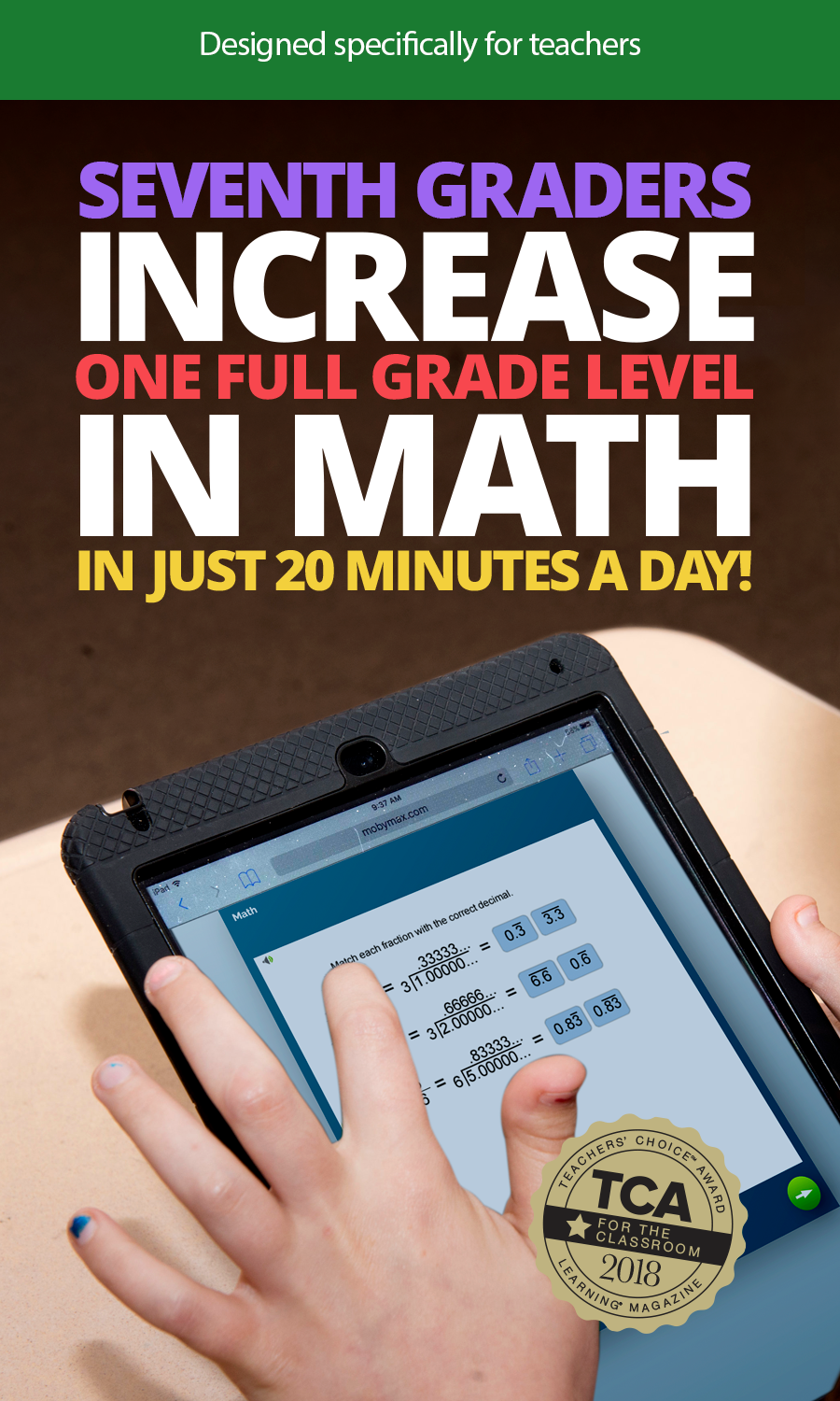 MobyMax finds and fixes missing math skills that are