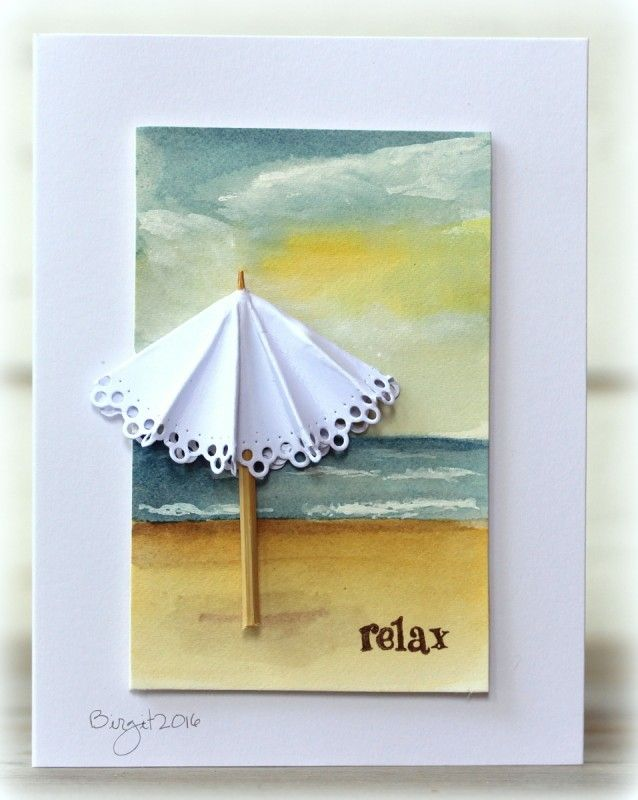 Cas385 Relax By Biggan Cards And Paper Crafts At Splitcoaststampers Umbrella Cards Beach Cards Themed Cards