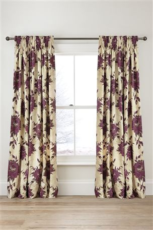 Buy Mia Floral Printed Pencil Pleat Curtains from the Next UK online shop