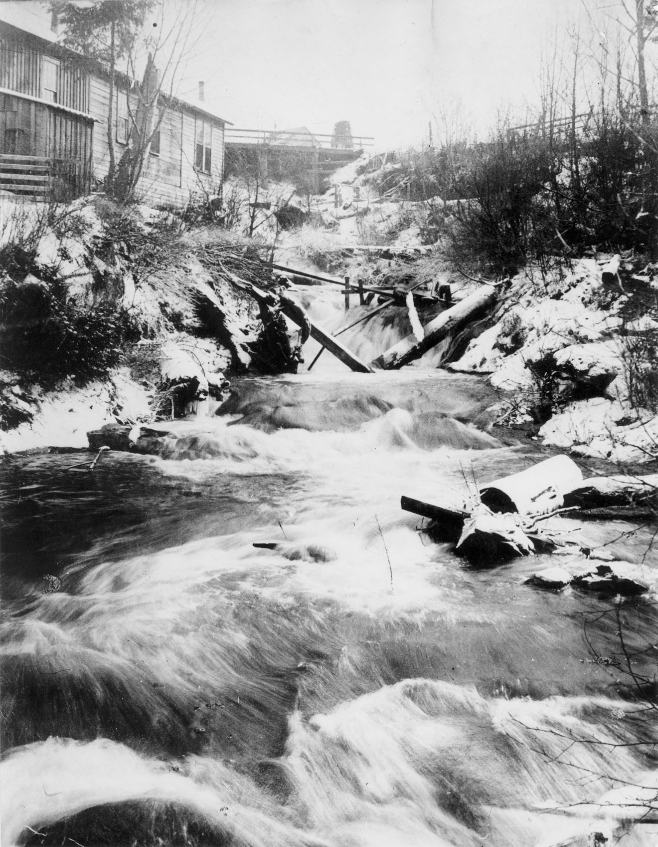 Creek falls below picket bridge 1880 with images