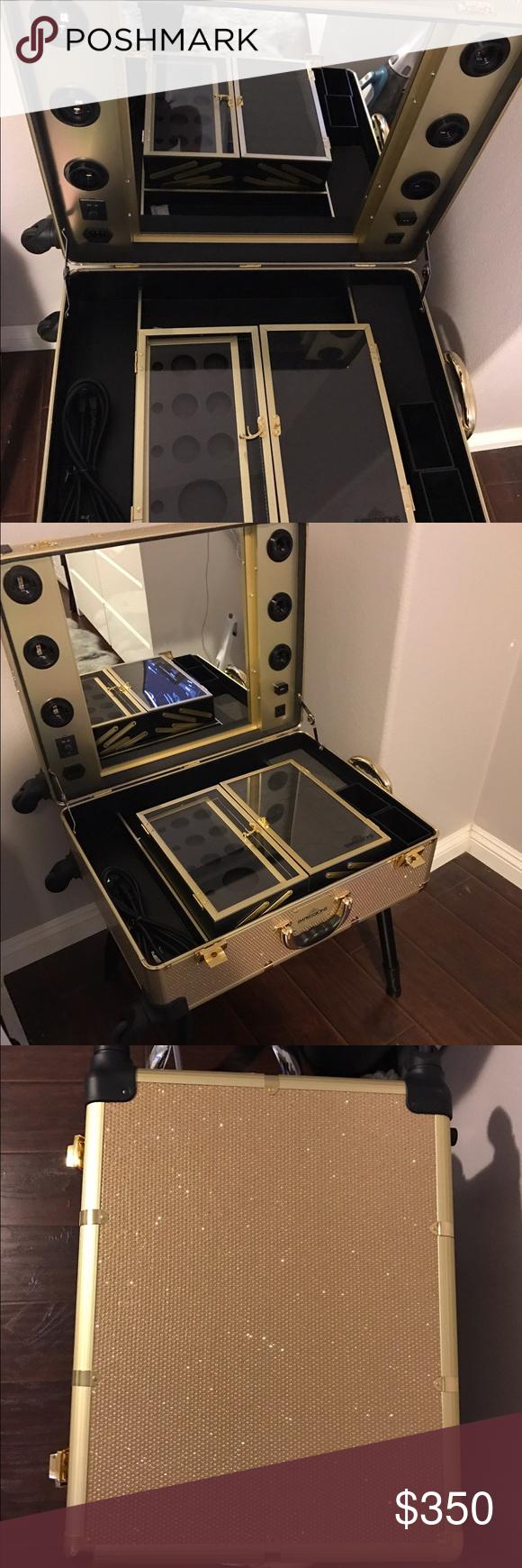 Slaycase Pro Vanity Travel Train Case In Goldbling Nwt My Posh