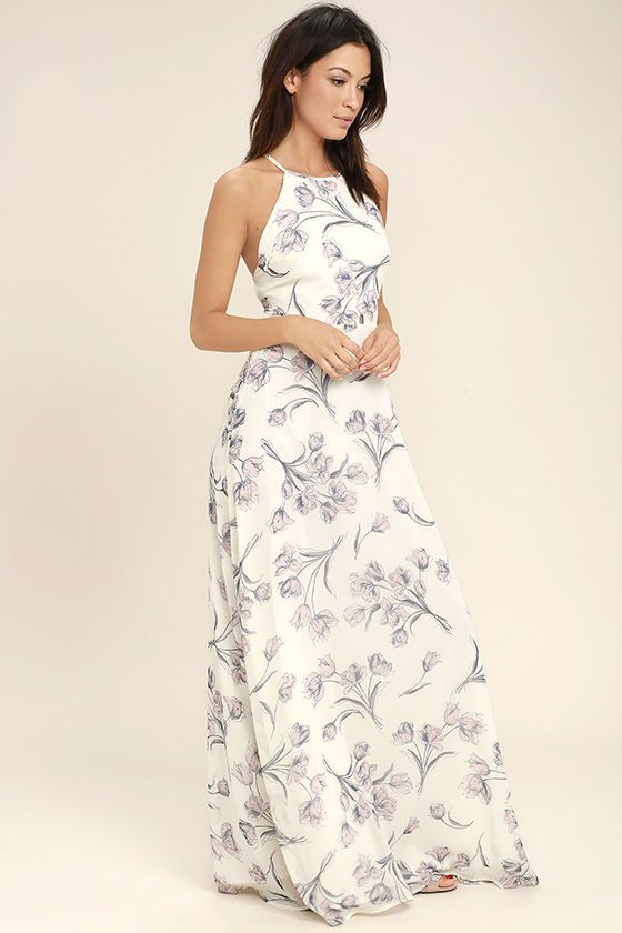 3262bd6a96 Don't forget to take along the Adventure Seeker Cream Floral Print Maxi  Dress! Cream chiffon, with a blush and grey floral print, ...