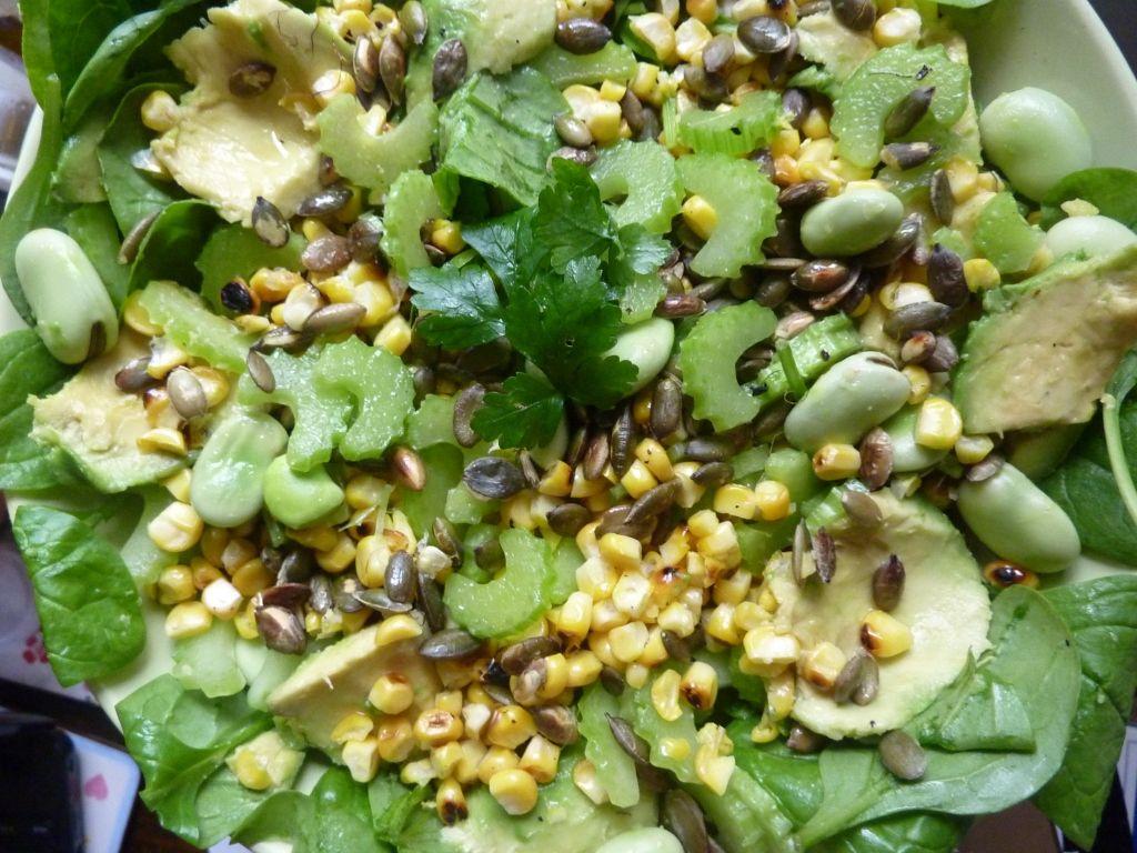 Roast Corn and Avocado Salad
