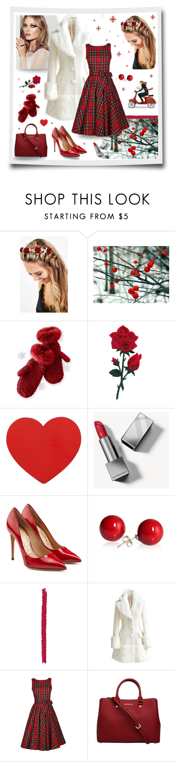 """""""Winter red"""" by magnolialily-prints ❤ liked on Polyvore featuring Johnny Loves Rosie, Mark & Graham, Burberry, Salvatore Ferragamo, Louis Vuitton and WithChic"""