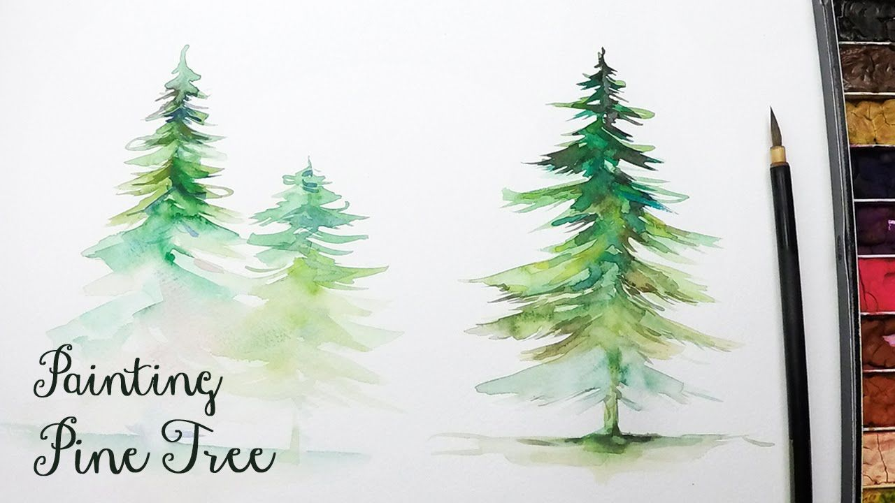 Lvl3 How To Paint A Pine Tree In Watercolor Watercolor Trees