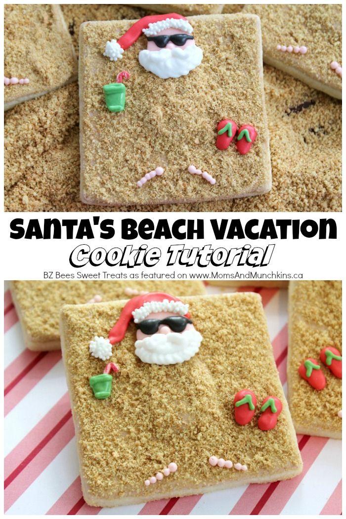 Santa Beach Cookies Tutorial | Christmas Cookies | Pinterest ...