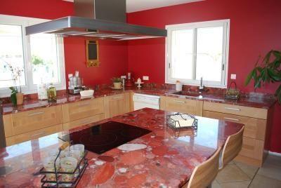 Plan De Travail En Granit Marinace Rouge Ilot Avec Table De