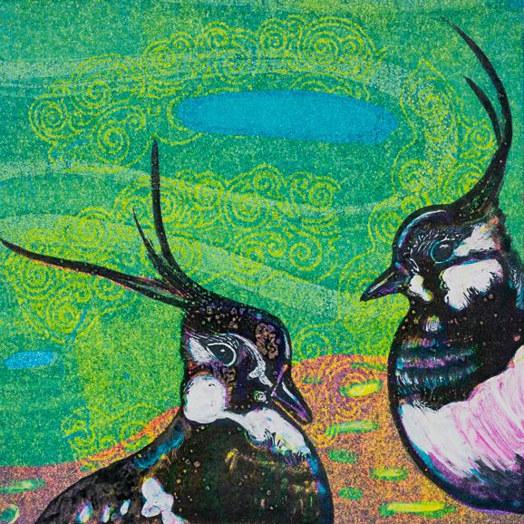 Louise Worthy 'Soulmates 2' Ink Monotype