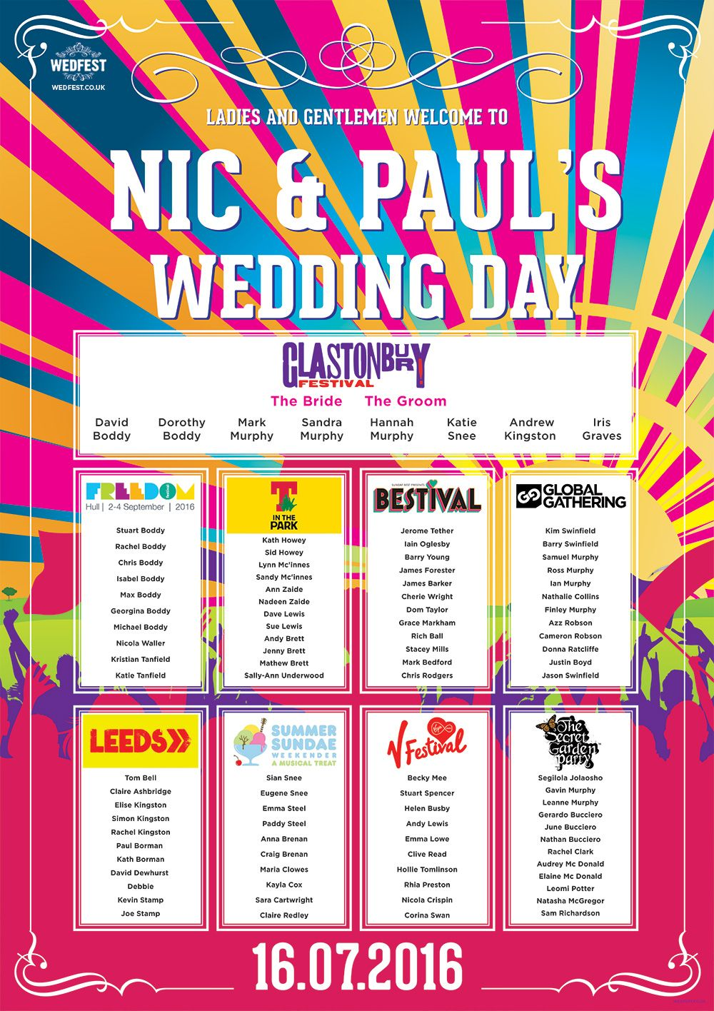 Check Out Some Of Our Favourite Festival Concert Wedding Table Plans From The Past Year