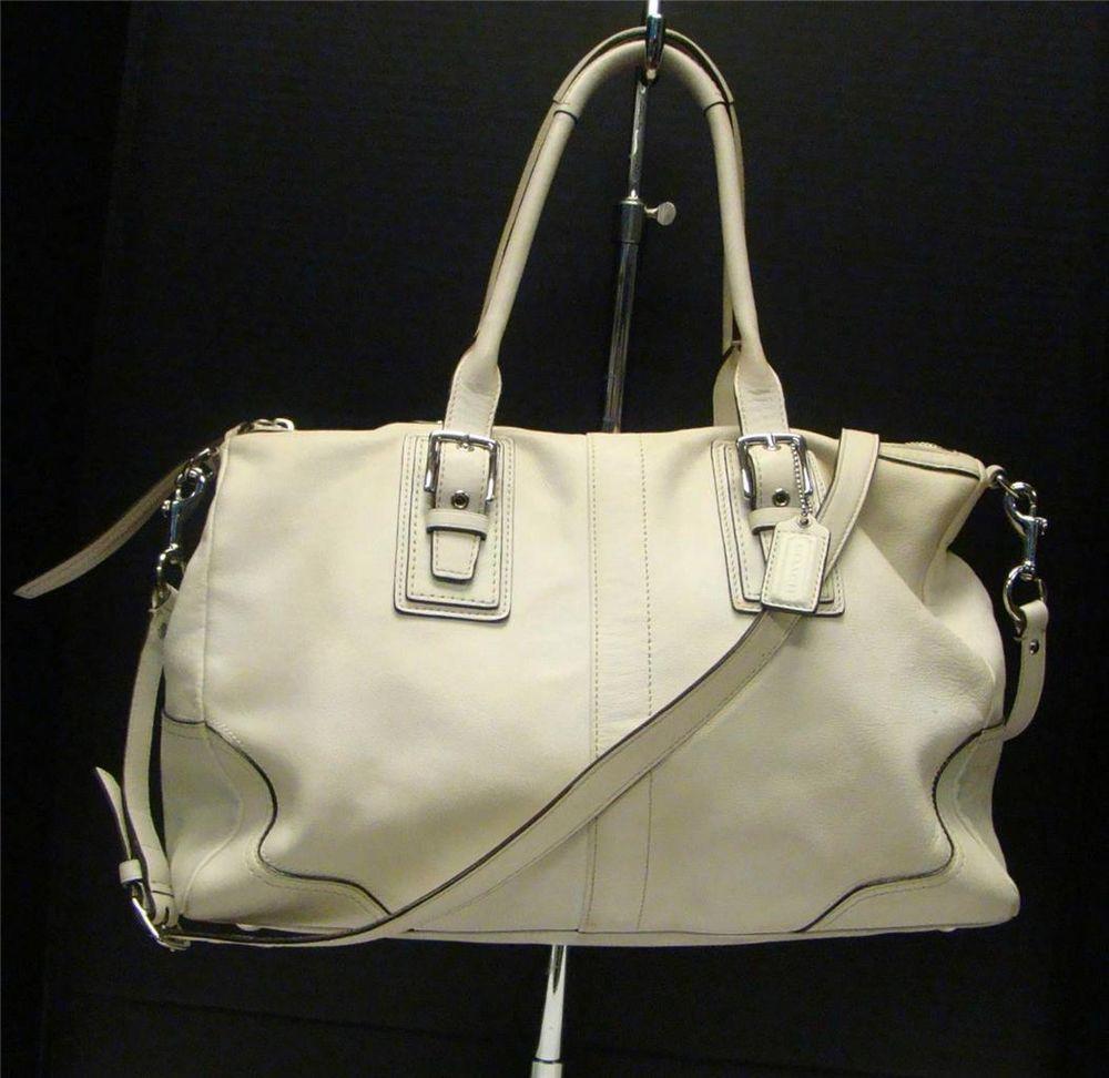 ... promo code for coach f13811 white leather hampton satchel crossbody bag  shoulder handbag purse coach messengercrossbody e69dea1e44d10