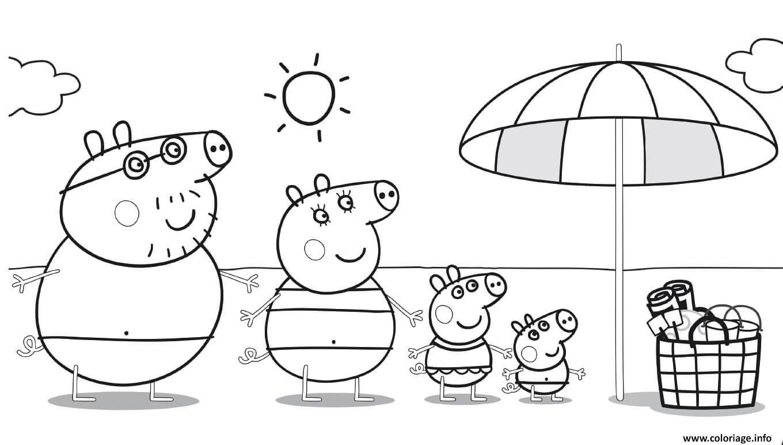 Coloriage Peppa Pig Sur La Plage Pour Profiter Du Soleil A Imprimer Coloriage Peppa Pig Coloriage Dessin Bebe Elephant