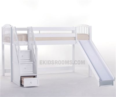 Junior Low Loft Bed With Stairs And Slide White Kids Rooms