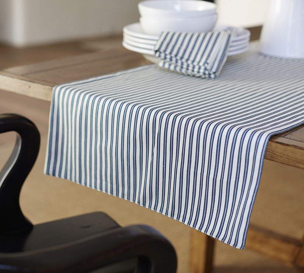 Thatcher Ticking Stripe Table Runner #POTTERY BARN#