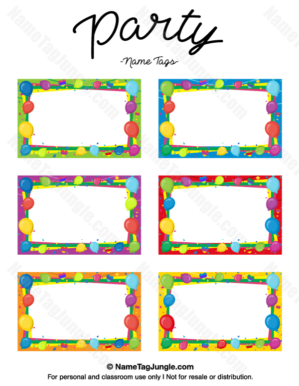 Free Printable Party Name Tags The Template Can Also Be Used For Creating Items Printable Tags Template Labels Printables Free Templates Party Printables Free
