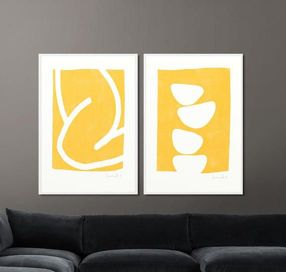 Super Amazing Value. A Set of 2 Prints, Yellow and white Abstracts ...