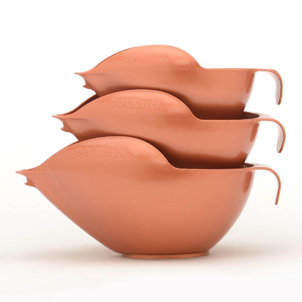 POURfect Mixing Bowls 6-8-12 Cup Bowl Set (Satin Copper), Gold (Plastic)